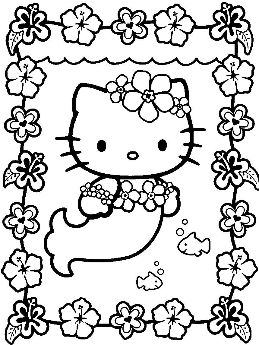 Hello Kitty And Two Fish Coloring