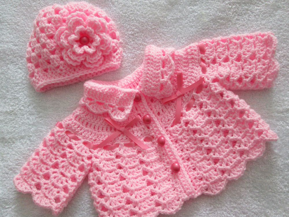 Coat //Jacket. Handmade Knitted //Crochet Toddler Pink Baby Cardigan