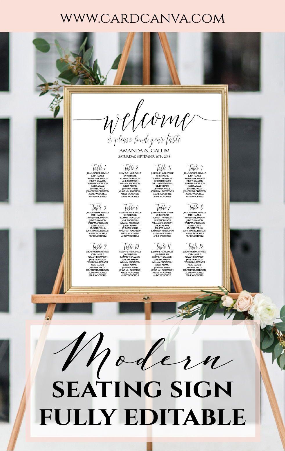 DIY Wedding Seating Chart Template, Calligraphy Script