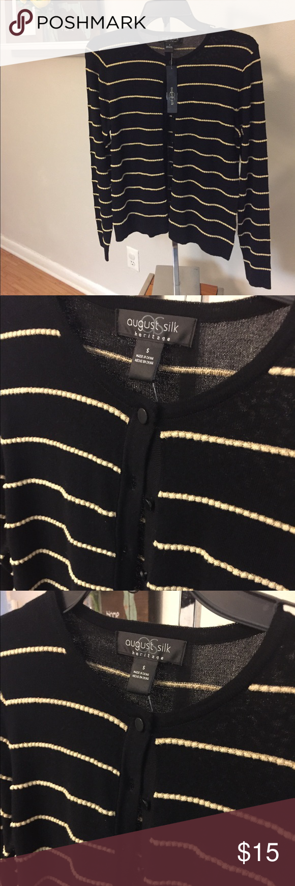 Black and Gold Cardigan Sweater NWT August Silk NWT | Gold ...