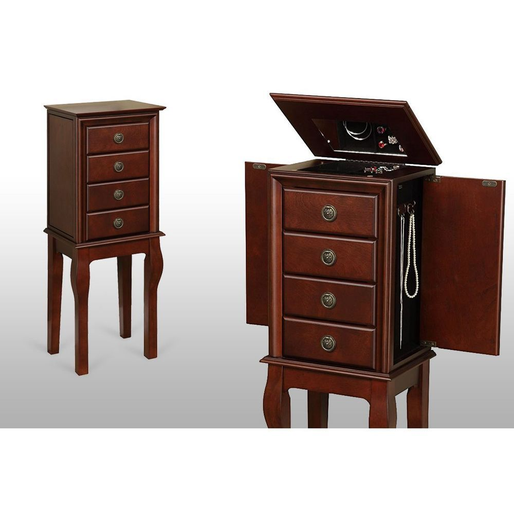Mirrored jewelry armoire box organizer cabinet tall stand up