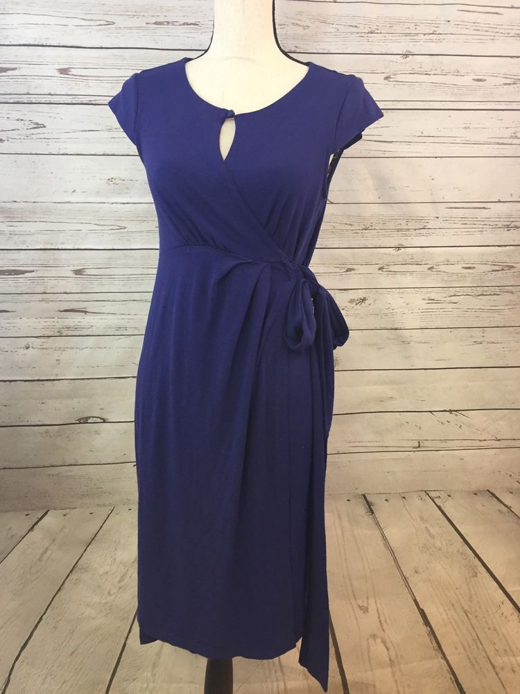 51ff247b928e3 Seraphine Wrap Maternity Dress Size 10 BLUE / PURPLE Pregnancy dress | eBay