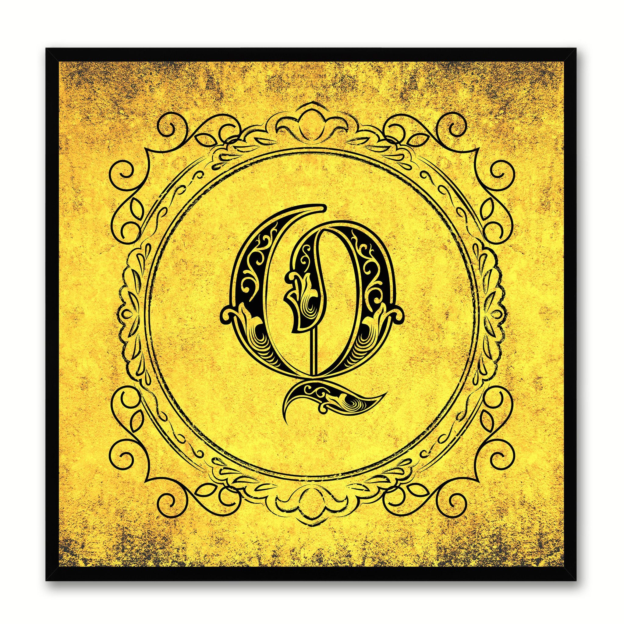 Alphabet Q Yellow Canvas Print Black Frame Kids Bedroom Wall Dcor Home Art
