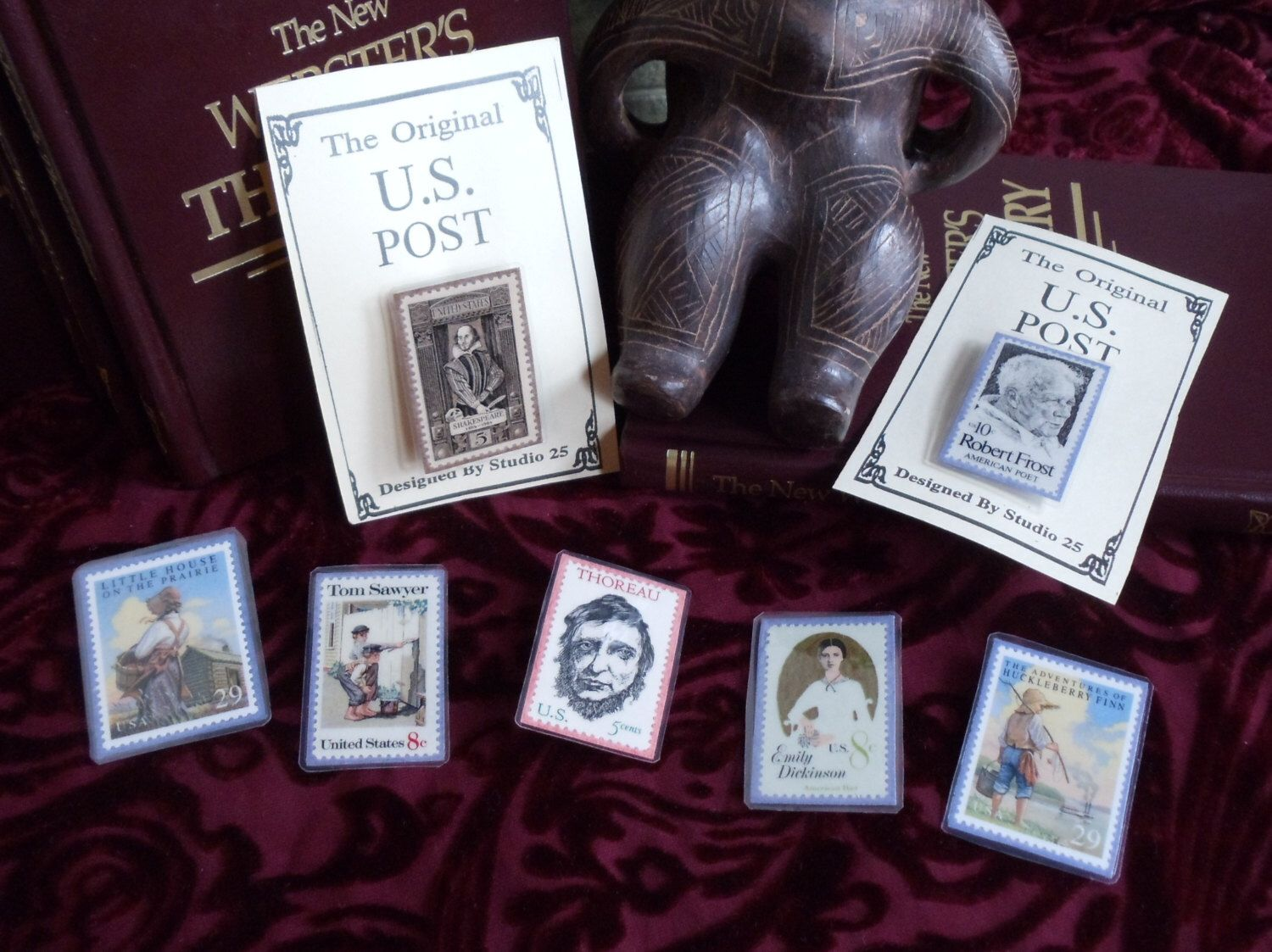 Literature Postage Stamp Pin Shakespeare Frost Thoreau Melville Dickinson Tom Sawyer Magnet by PatrioticTreeHugger on Etsy https://www.etsy.com/listing/219489223/literature-postage-stamp-pin-shakespeare