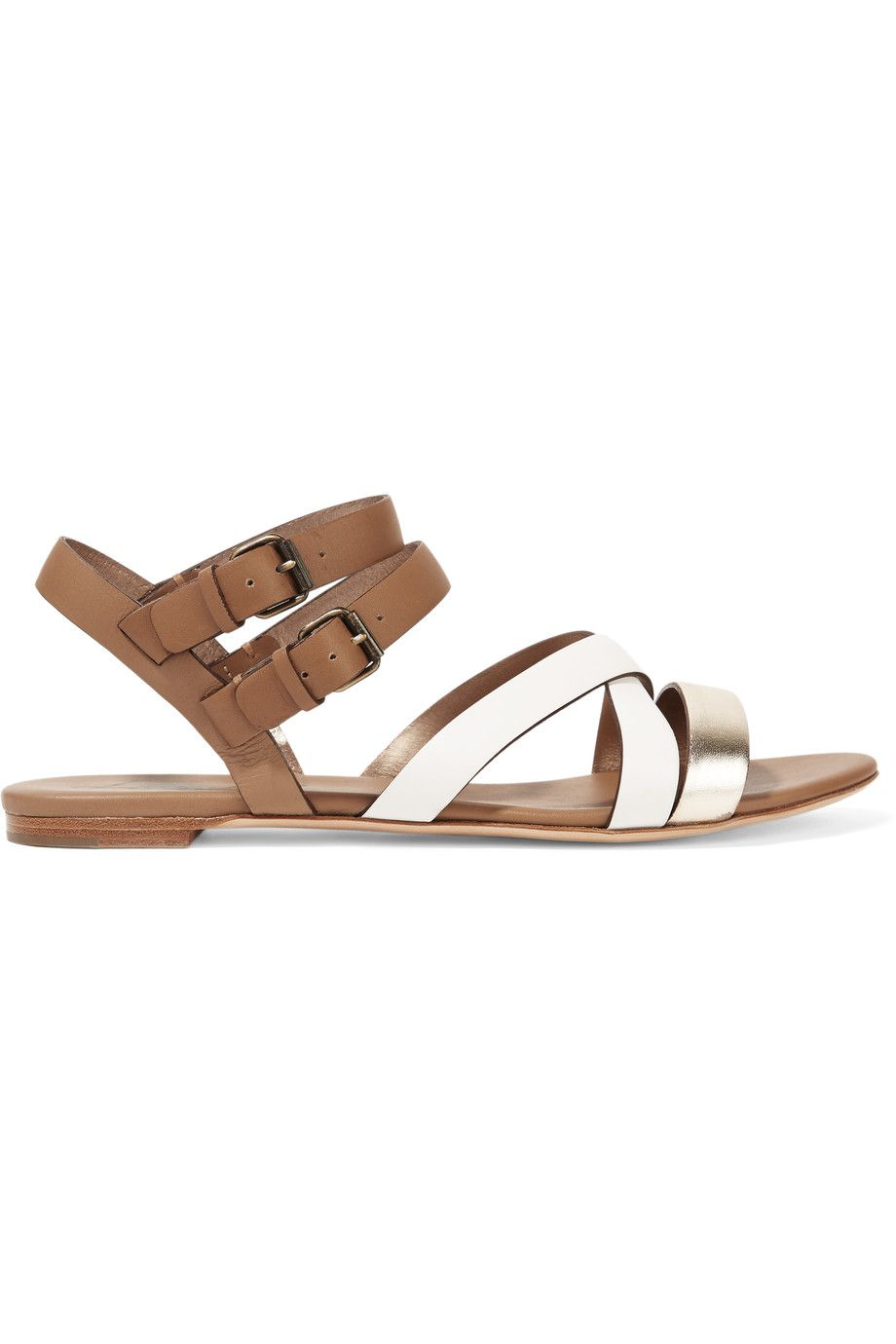 LANVIN Two-Tone Leather Sandals. #lanvin #shoes #sandals