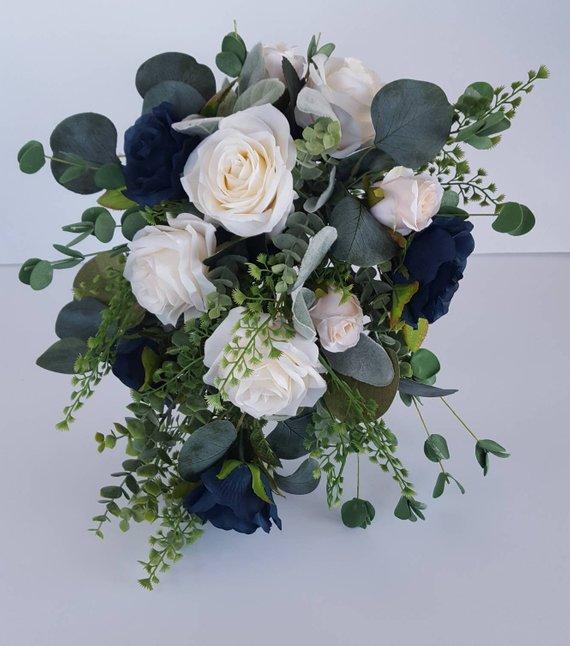 Navy Blue and Ivory Rose Bridal Bouquet, Boho Greenery Bouquet, Eucalyptus, Spring Cascading Silk Floral Wedding Bouquet, Midnight, Marine