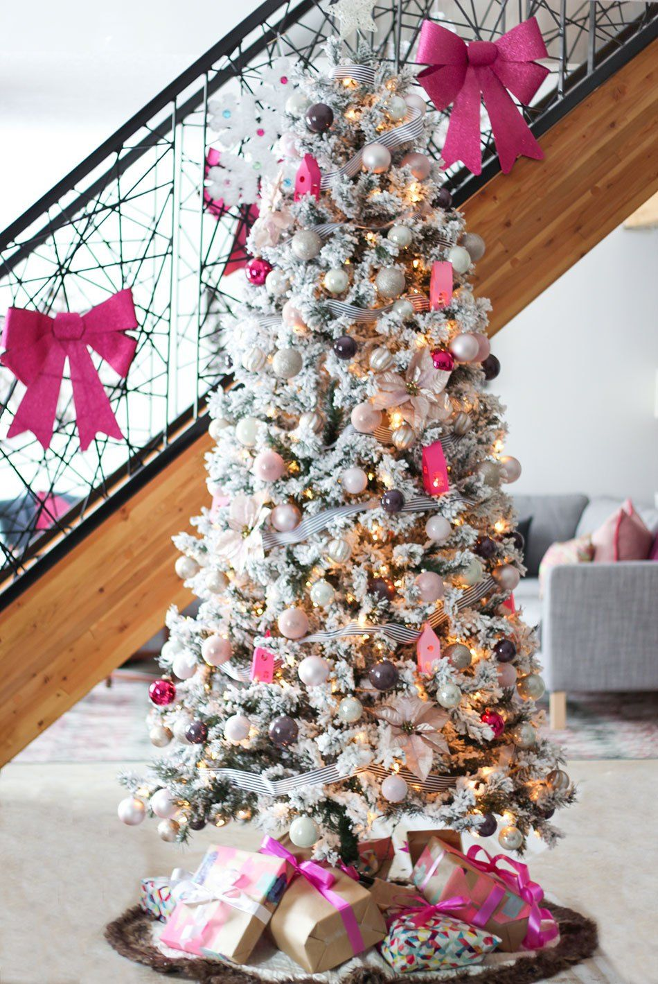 Candy Pink Meets Traditional Canadian Holiday Homes Tour Fresh Crush Pink Christmas Tree Pink Christmas Holiday Decor