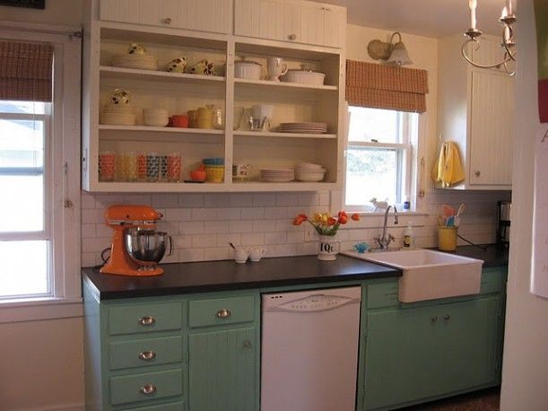 turquoise lower cabinets