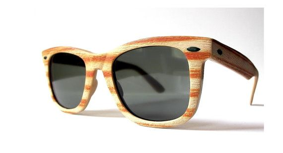 cc286c137e8d 80s Wayfarer Sunglasses, Opti-Ray Wood Frame Shades, 1980s Tan Striped Faux  Woodgrain Sunglasses