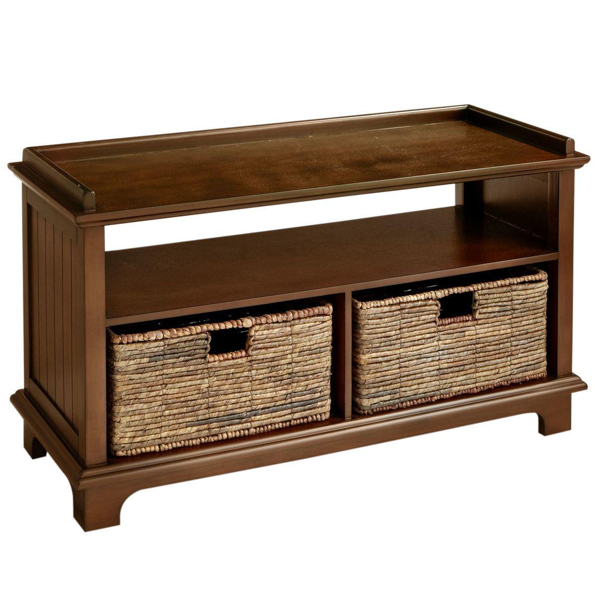 Holtom Chestnut Brown Storage Bench With Baskets