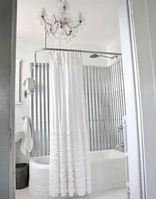 The Decor Elements In This Bathroom Are Beyond Amazing Industrial Look Steel Used For Bathtub Surround Chenille Shower Curtain White And Beautiful