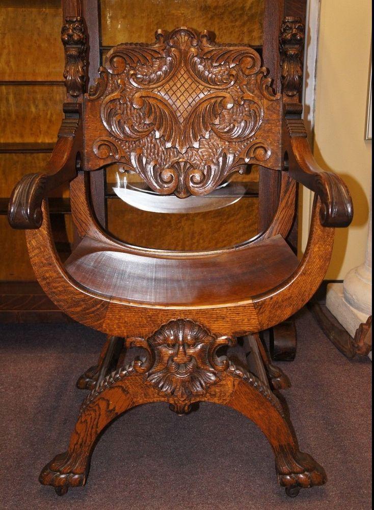 Antique+Renaissance+Revival+Tiger+Oak+Saddle+Seat+Chair+Throne+Lion +Head+Figural+#Gothic - Antique+Renaissance+Revival+Tiger+Oak+Saddle+Seat+Chair+Throne+Lion+