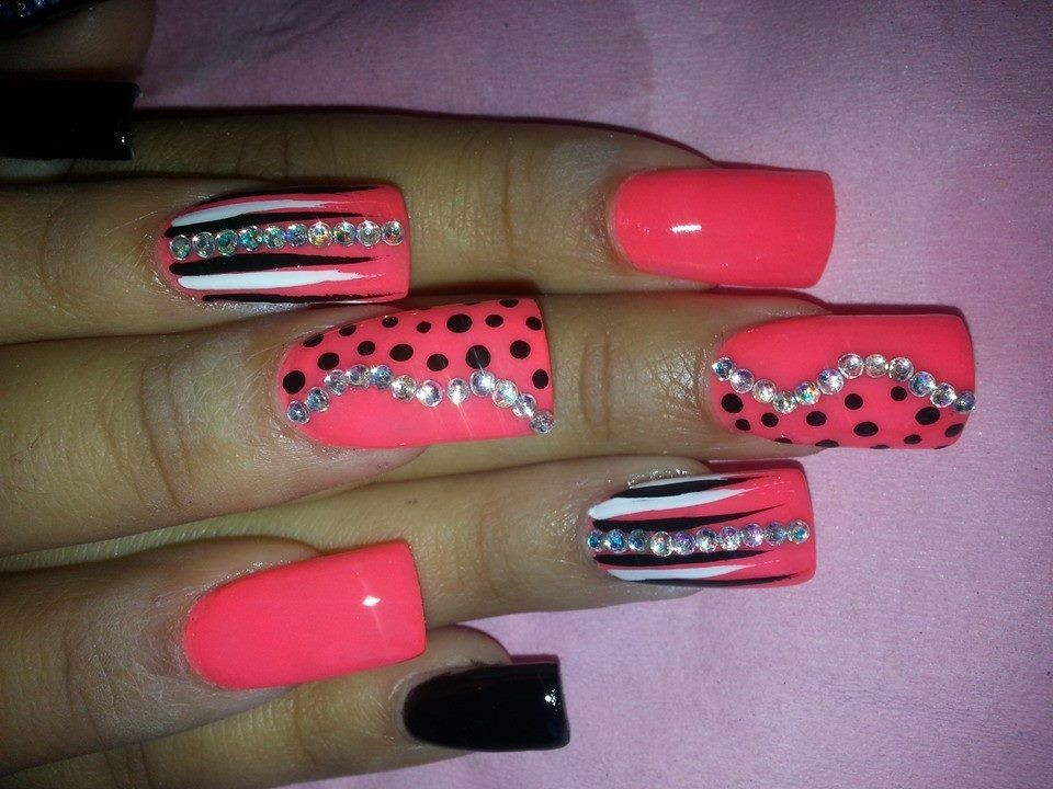 Coral black and bling