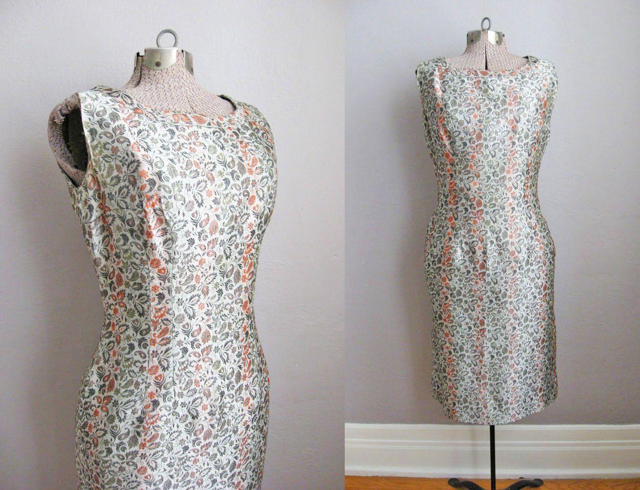 1950s Dress Asian Brocade Green Orange Floral / Vintage 50s Sheath Dress / Small Medium by SoubretteVintage on Etsy