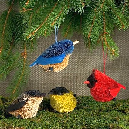 Brushart Bristle Brush Songbirds Ornament Set Of 4 Handcrafted Brushart Buri Palm Ornaments At Fiddle Creek Farms Ornament Set Bird Ornaments Ornaments