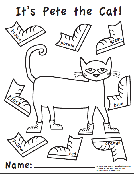 Pete The Cat Coloring Page Unique Pete The Cat Free Printables  Httpwww.heidisongs Decorating Design