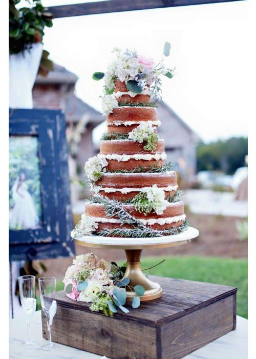 Cake Rustic Naked On A 16inch Gold Stand