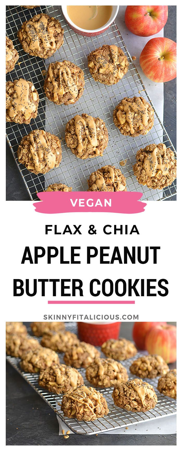 Vegan Apple Peanut Butter Cookies Made With Flax Chia And