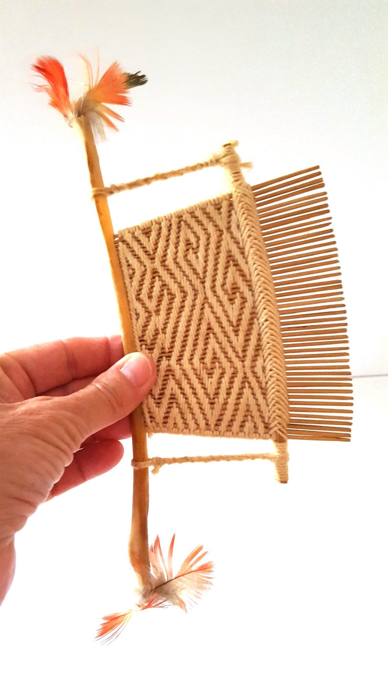 Oriental Hair Comb Hand Made Wicker Textile