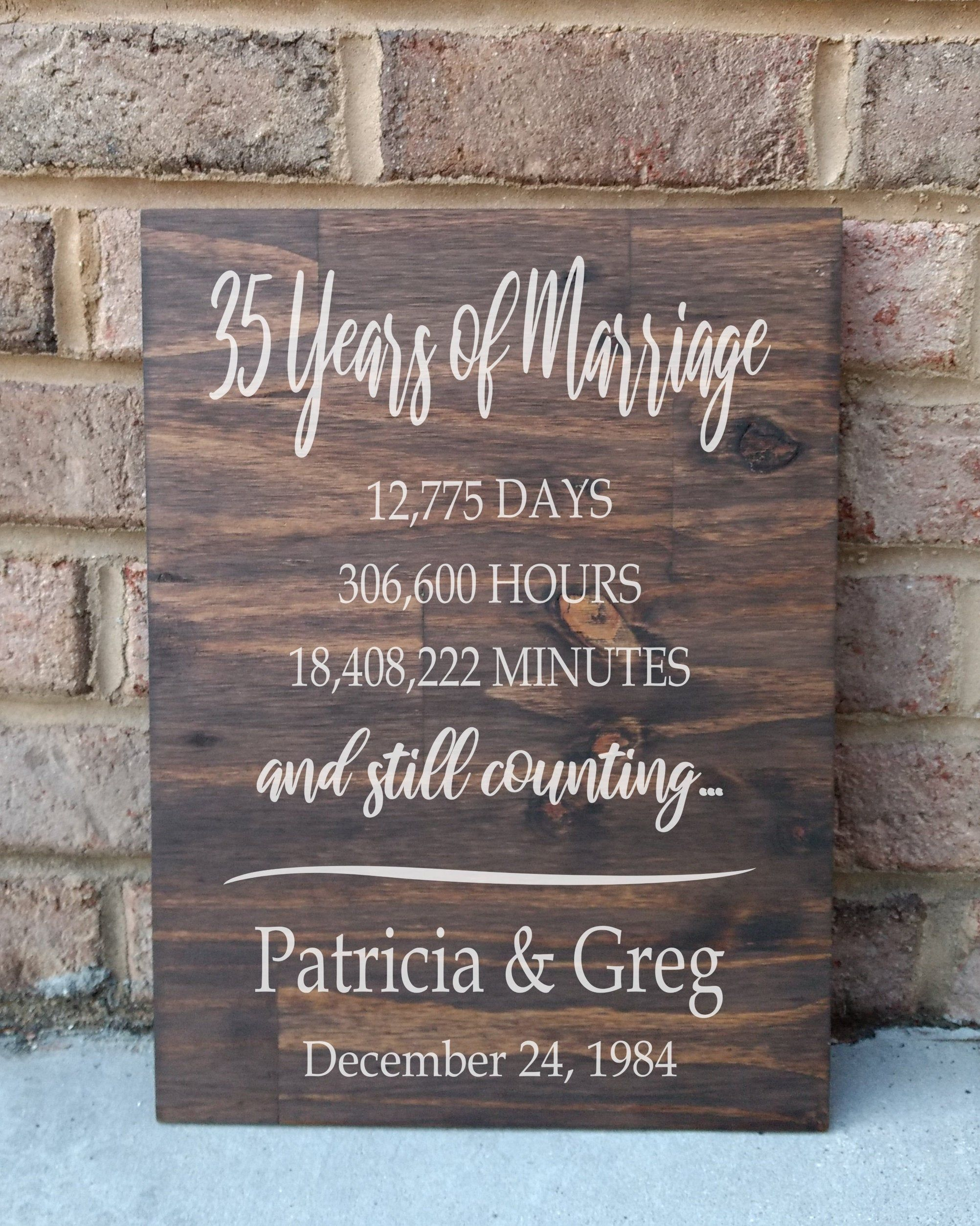 35 Years of Marriage Hand Painted Wood Sign, 35th