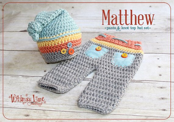 1a633a6e7 Newborn Top Knot Hat And Pants Outfit, Crochet Striped Hat, Baby Boy Photo  Prop