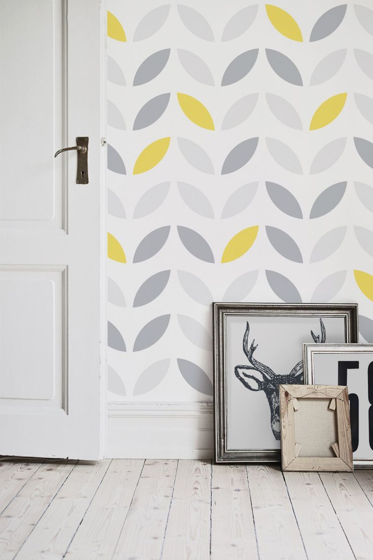 Surprising Yellow And Grey Abstract Flower Pattern Wallpaper Home Beutiful Home Inspiration Xortanetmahrainfo