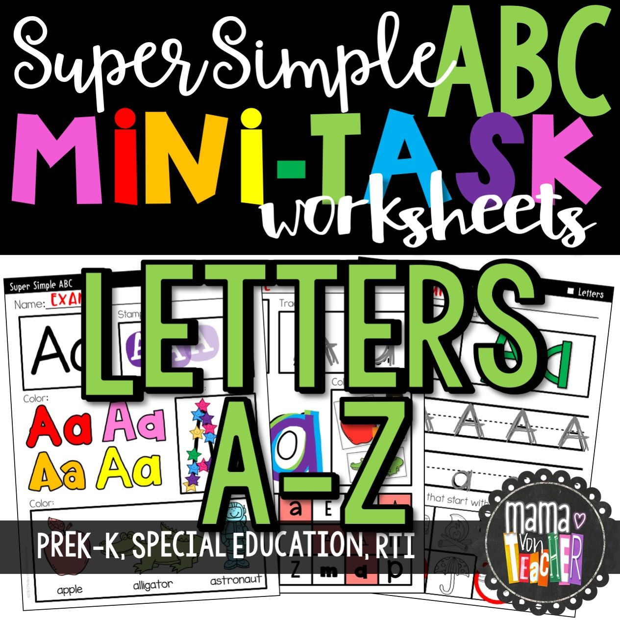 Super Simple Abc Alphabet Letter Worksheets No Prep