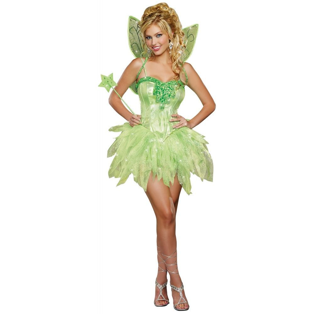 Tinkerbell Costume Adult Womens Fairy Halloween Fancy Dress  Dreamgirl  Disfraces 34f8888f6c9