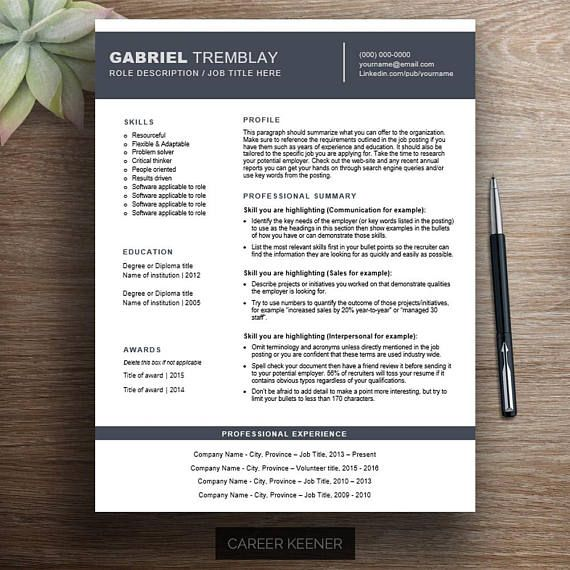 Creative resume template / cv template Functional resume, cover - Example Of A Functional Resume