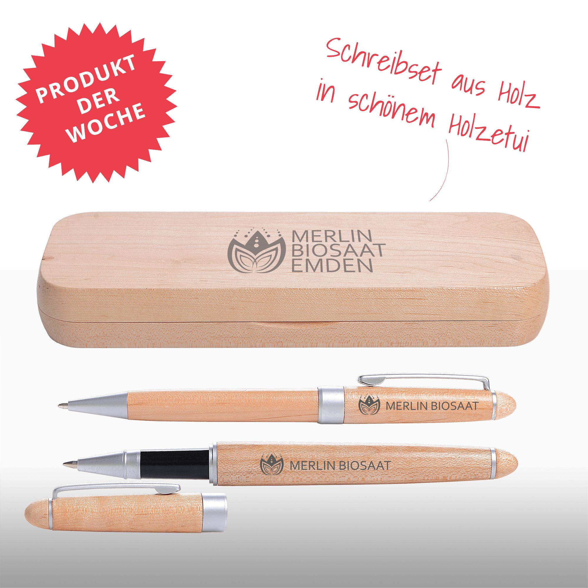 Schreibset bestehend aus einem Kugelschreiber und einem Rollerpen mit Gravur