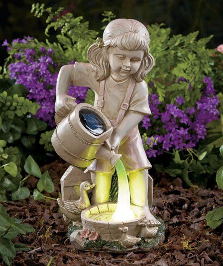 Solar Light Watering Garden Statue Yard Lawn Art Patio