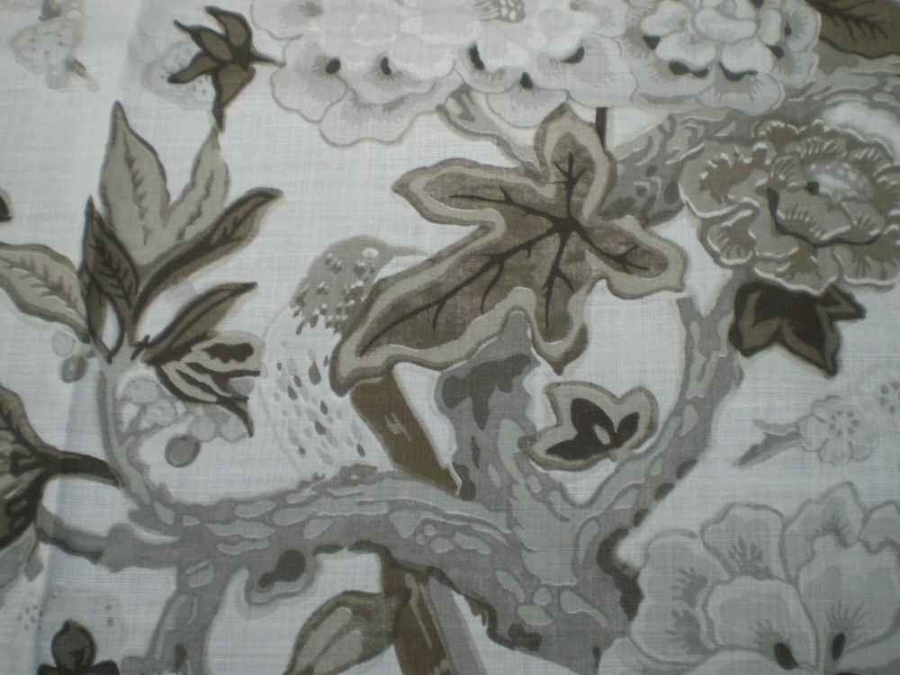 SCHUMACHER FABRIC REMNANT  BERMUDA BLOSSOM  BY M MACDONALD LINEN BLEND 72X145 CM