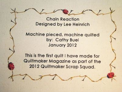 Cathy Buel of Quiltmaker's Scrap Squad used a Hallmark greeting card program to make her label. See this post: http://www.quiltmaker.com/blogs/quiltypleasures/2012/02/qm-scrap-squad-cathys-chain-reaction/