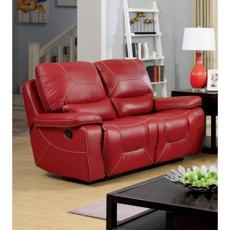 Furniture Of America Baxter Contemporary Reclining Loveseat Red