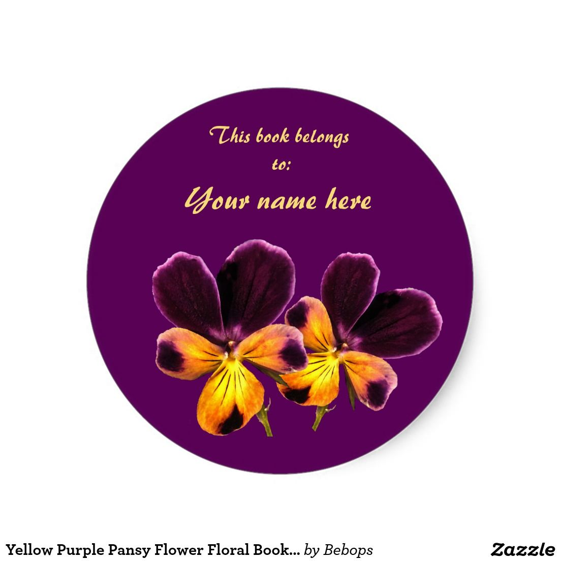 Yellow Purple Pansy Flower Floral Bookplate Zazzle Com With Images Pansies Flowers Purple Pansy Pansies