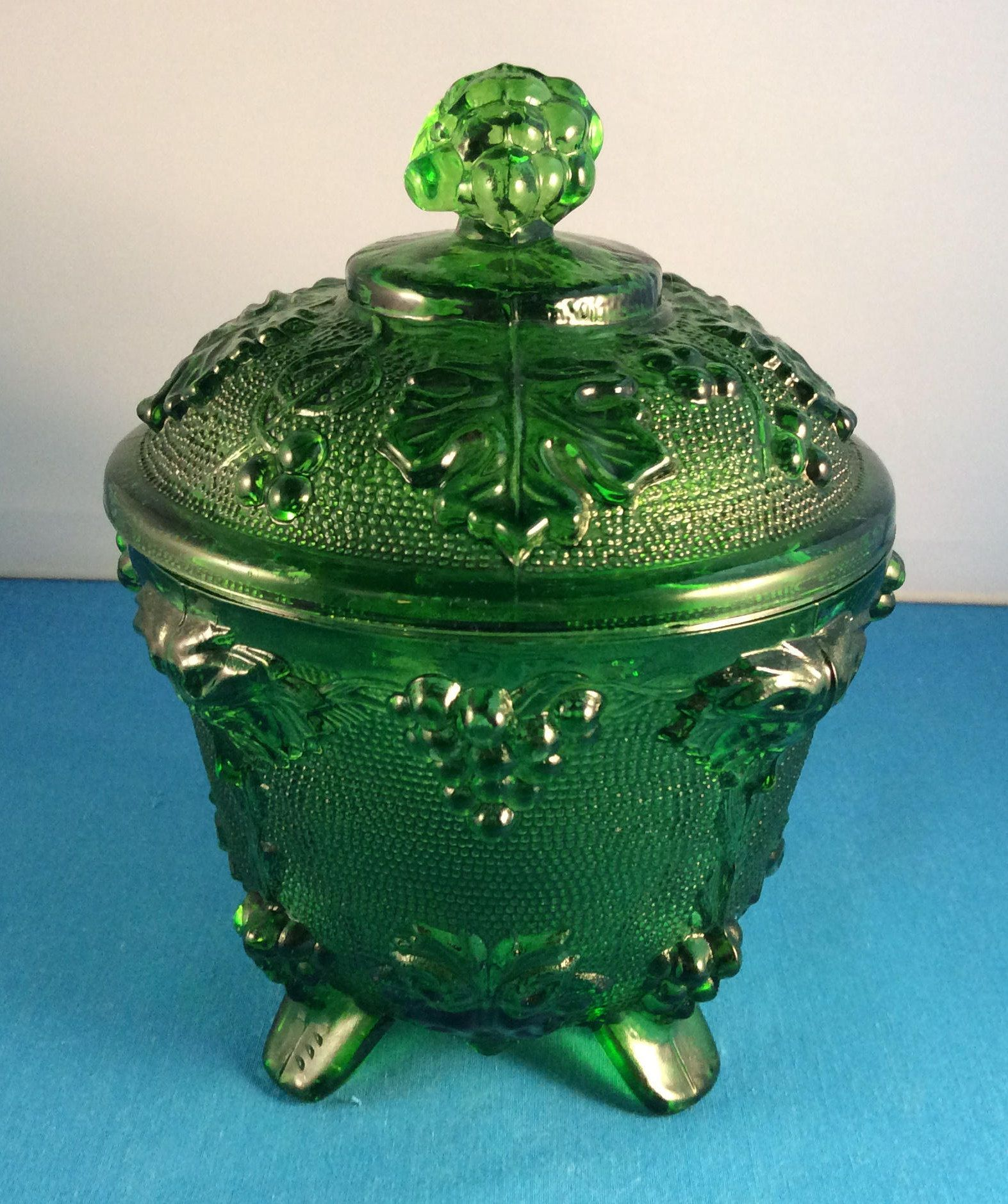Vintage Jeannette Glass Co Grape And Vine Green Glass Footed Covered Candy Dish Mid Century Jeanette Glass Collectible Glass Collection Glass Green Glass