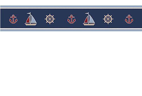 Navy Blue Nautical Wallpaper Border Sailboats Anchors Wheels
