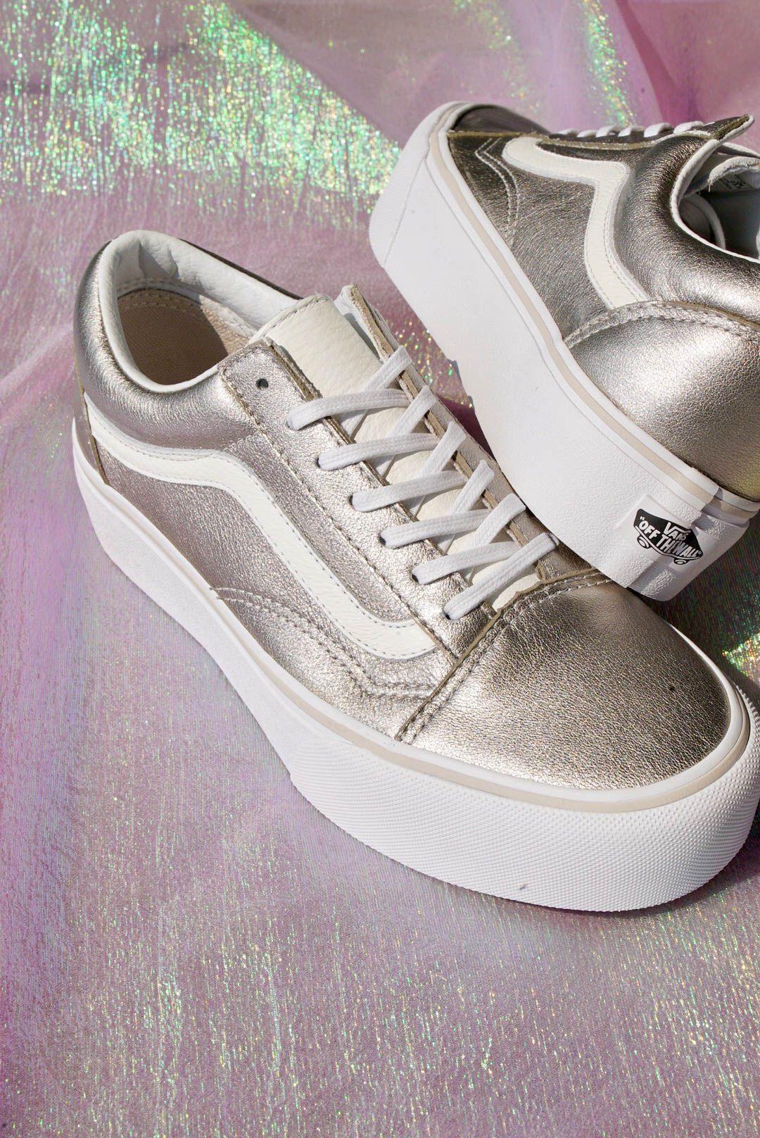 a7e16939b174 Vans Old Skool Gray Gold   True White Platform Skate Shoes