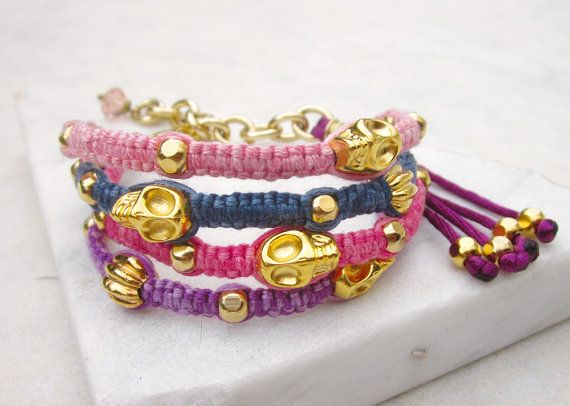 Skulls friendship bracelet cuff 4 rows macrame by pieceofART, $30.00 #cuff #bracelet #friendshipbracelet #armcandy #jewelry #etsy #handmadebracelet #beadbracelet #macramebracelet