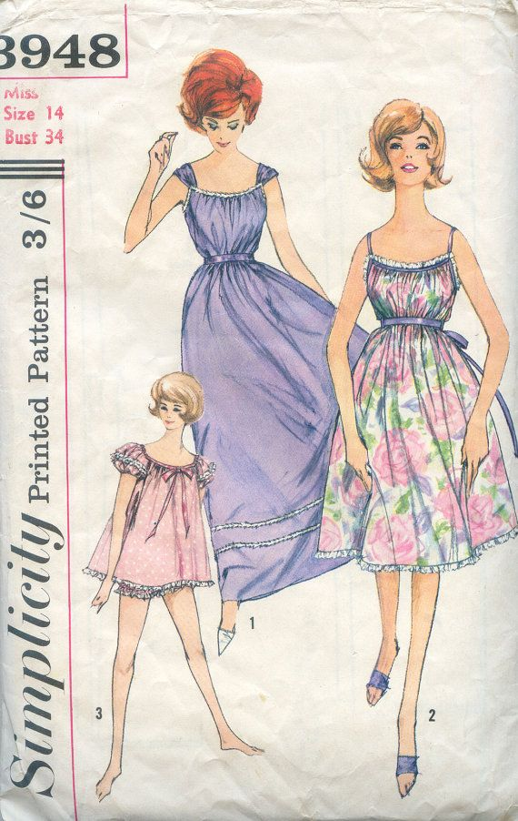 Vintage Sewing Pattern - Nightgown in Three Lengths - Simplicity ...