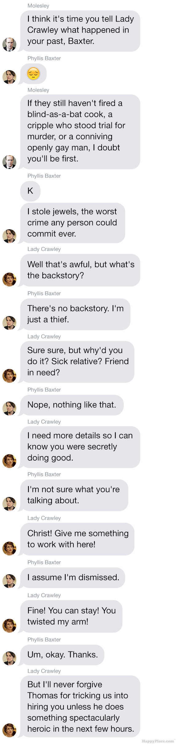 If the season premiere of Downton Abbey took place entirely via group text. | Downton Abbey | Happy Place