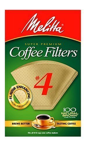 Melitta Cone Coffee Filters Natural Brown 4 100 Count Pack Of 3 Coffee Filters Coffee Natural Brown