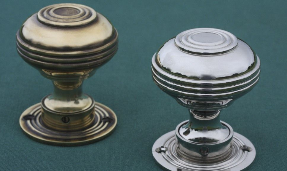 Our large Bloxwich door knobs shown in nickel and brass. Can be used ...