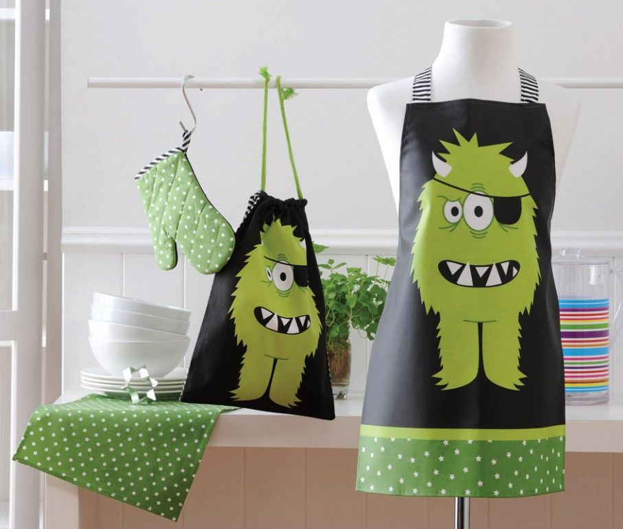 Fartuszek Kuchenny Dla Dzieci Ladelle Potwor 3354252354 Oficjalne Archiwum Allegro Kid Chef Kids Apron Little Monsters