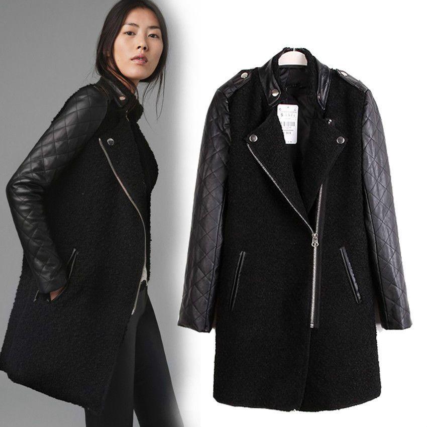 ZARA 5118 5119 5120 Black Label. Black Leather Wool Blend ...