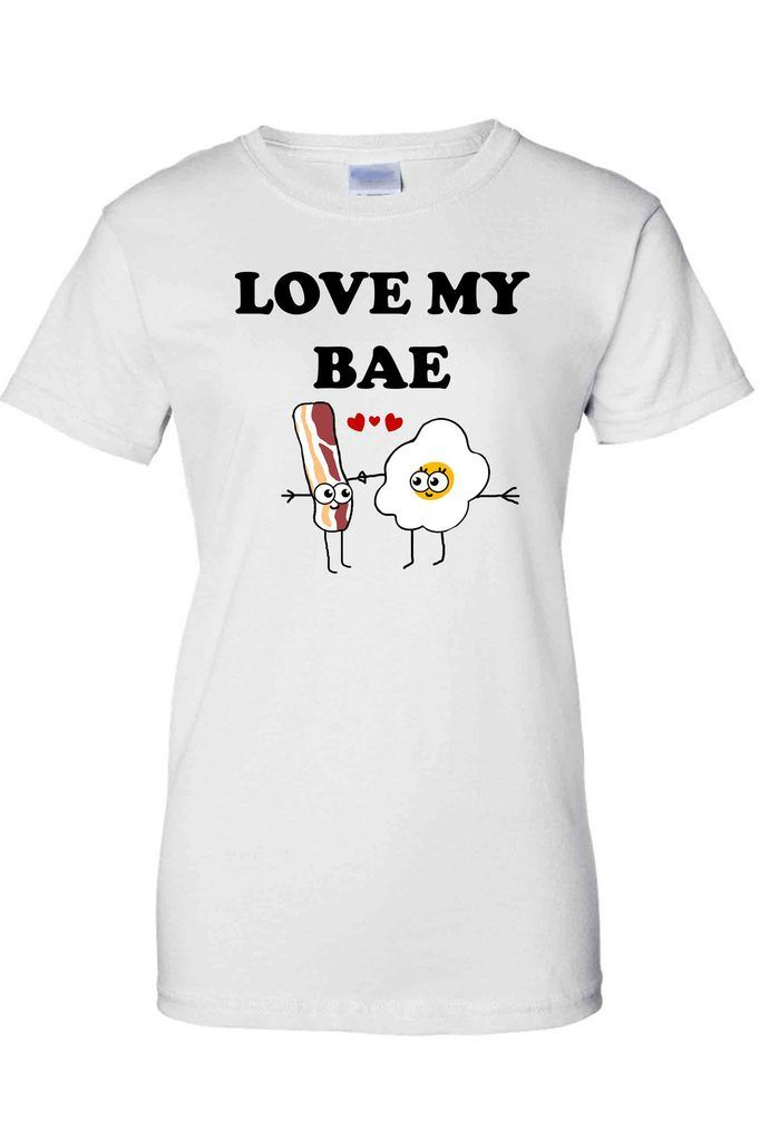 755c41348 Women's Juniors T-Shirt Funny Love My Bae Bacon And Eggs Valentine's Day Tee