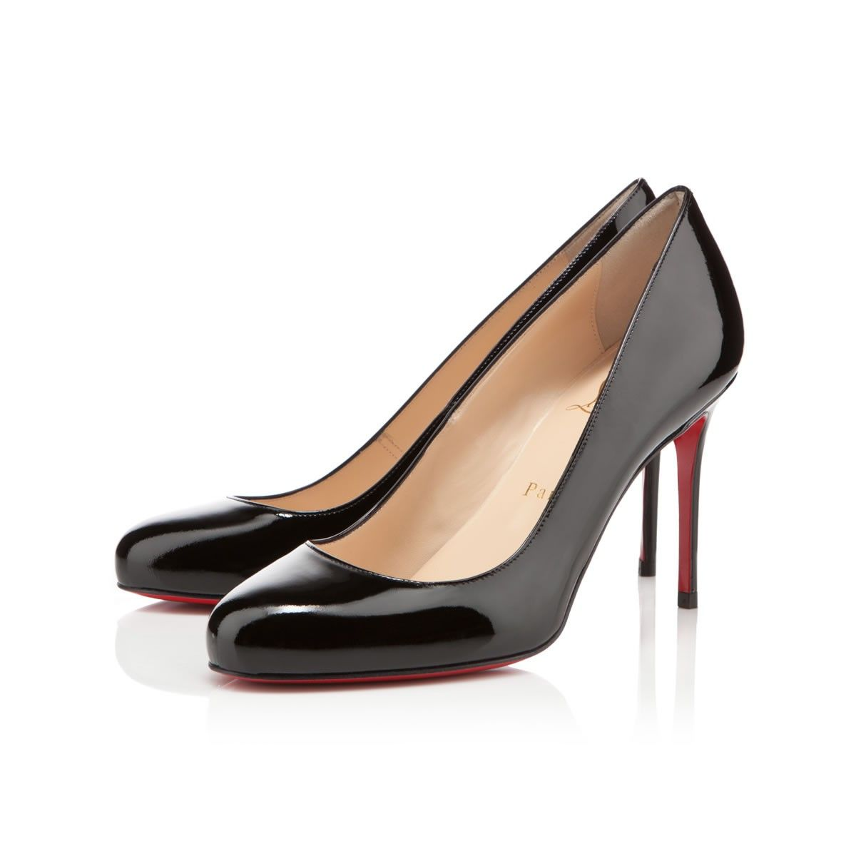 Fifi 100 MM Black Patent Leather - classic Louboutins!