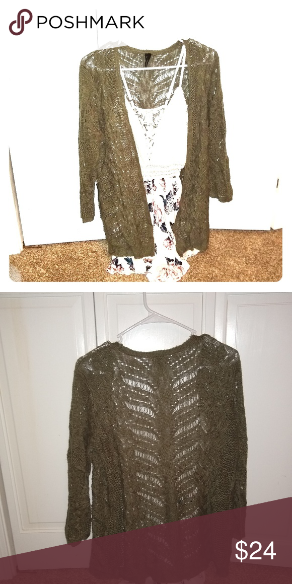 f72ca648738f Delicate green open front cardigan 3/4 sleeve, olive green cardigan. Soft  and very pretty. Good condition, some wash wear. Maurices Sweaters Cardigans