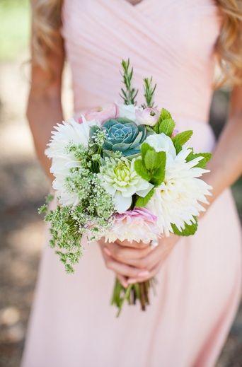 Passion Flowers Design; www.passionflowersdesign.com; Bridesmaid bouquet with Dahlias, Succulents, Ranunculus, Echeveria Succulents, and Queen Anne's Lace. Photo by JL Photography, Buellton.