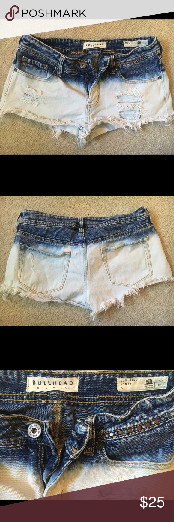 Ombré wash denim shorts size 5 (fits women's 2/4) Worn only a few times, super cute trendy ombré wash bullhead denim jean low rise shorts! Bought them from PacSun. The size is 5 but they fit like a 2/4! PacSun Shorts Jean Shorts